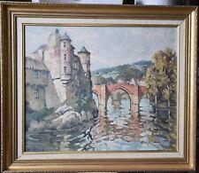 Raoul ETEVE (1902-1967), CHATEAU ET PONT VIEUX A ESPALION , Huile sur toile