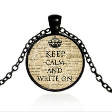 Cabochon Black Glass Chain Pendant Necklace Vintage Keep Calm and Write On