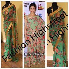 UK-impresionante diseñador indio bollywood Deepika Impreso Verde Partywear Saree