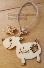Cute Personalised Reindeer Christmas Tree Pyrographed Wooden Decoration