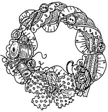 Unmounted Rubber Stamps, Sewing, Thread, Needles, Wreath, Fabric Bow, Crafts