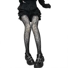 Gothic Women Black Mesh Fishnet Pantyhose Spider Web Patterned Tights Stockings