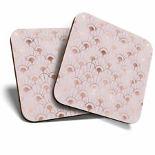 2 x Coasters - Rose Gold Art Deco Pattern Print Home Gift #12374