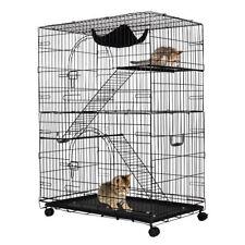 Cat Playpen Black Metal Wire Cage Climbing Ladders Stairs Hammock Door Wheels