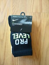 2 NIKE PRO Boys Crew Socks Size 10C-3Y 5-7 Cushioned Black Green Pack Pairs NEW