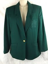 Koret Women's  Green Jacket Blazer SZ 10 Petites Washable Wool Blend Embroidery