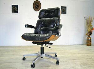 MARTIN STOLL GIROFLEX 60er/70er Schreibtischstuhl Lounge Leder