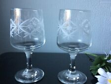 Vintage Wine Port Glasses Goblets Set of 2 White Geometric Pattern Cups 140mL