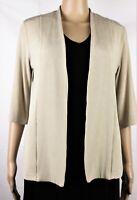 CHICOS - Slinky Travelers Open Front Suit Jacket Blazer Sz 0 S Beige 3/4 Sleeve