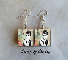 Audrey Hepburn Earrings Mixed Media Altered Art Charm Breakfast At Tiffany's