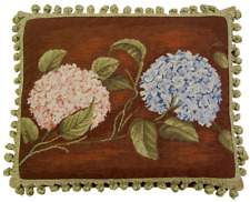 """16"""" x 20"""" Handmade Wool Needlepoint Pink and Blue Hydrangea Pillow with Tassels"""