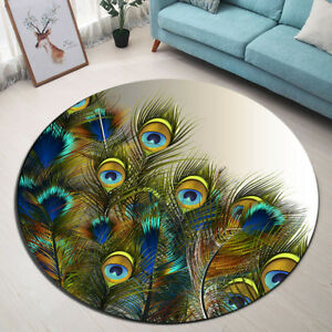 Round Mat Rug Blue & Green Peacock Feathers Bedroom Carpet Living Room Area Rugs