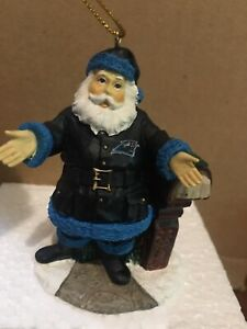 """Carolina Panthers 3"""" WELCOME Home Santa Ornament Figurine By The Memory Co New"""