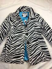 charlotte russe Zebra Black White Trench Coat Jacket Size M