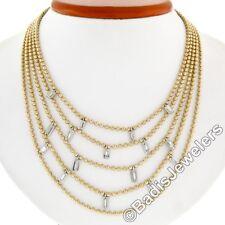 18ct Oro & Platino 1.12ctw Diamante Baguette multihilos Cuenta Cadena