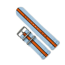 Two-Piece 22mm Gulf Racing Inspired Colors Strap Nylon Watch Band