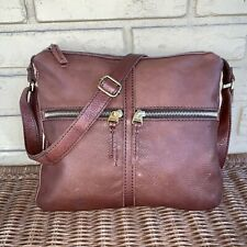 Fossil Brown Pebble Leather Crossbody Zip Pockets Bag