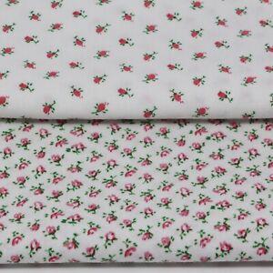 "1 Yard Vintage Fabric 2 prints - 1/2 yard ea 18"" Wide x 35-36"" Pink White Floral"
