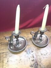 1800s 19th Century Matching Silver plate Candlestick Tray Holders & Snuffers