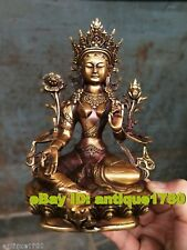 Tibetan Bronze Kwan-yin Bodhisattva Tara (Green) Buddha Old Temple God Statue