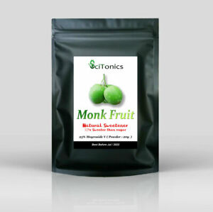 Monk fruit natural sweetener, 20g ( 25% Mogroside V ), 125x sweeter than sugar