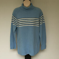 'SUSSAN' BNWT SIZE 'S' TEXTURED BLUE STRIPE LONG SLEEVE TOP WITH ROLLED COLLAR