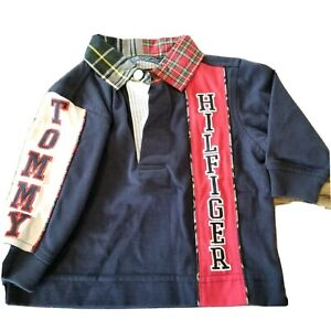 Tommy Hilfiger Baby Boy Sz 3 To 6 Months Spellout Collared Shirt Blue Preppy