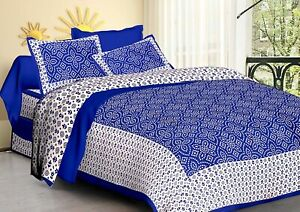 Cundari Style Queen Size Indian Rajasthani BedSheet Cover With 2 Pillow Case New