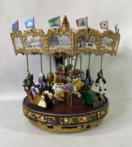 Vintage Mr. Christmas Nottingham Fair Holiday Music Light Up Carousel Tested