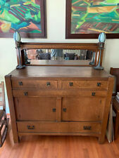 EARLY 20TH C ARTS & CRAFTS / MISSION OAK GLASS MIRROR SIDEBOARD / SERVER