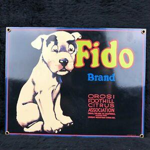 RARE Ande Rooney FIDO Orosi Foothill California Orange Crate Porcelain Sign Dog