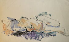 Vintage abstract modernist ink painting nude woman portrait