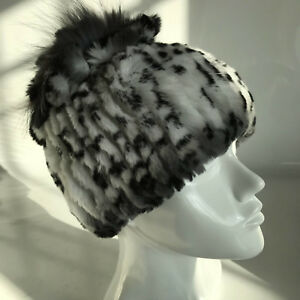 Real Rabbit Fur Hat Winter Warm Fur Knitted Beanie Hat White/Black Leopard Dots