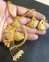 22K Gold Plated Indian 9'' Long Chain Pendant Earrings Bridal Set Party set b