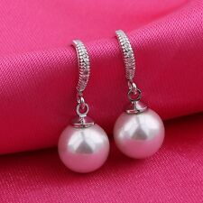 Dangle White pearl 18k white gold filled White sapphire earring!ladies gift