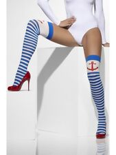 Opaque Hold Ups Ladies Sailor Fancy Dress Accessory Striped