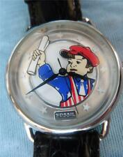 RARE FOSSIL LE-9490 Newspaper News Boy Red White Blue Limited Edition Watch EUC