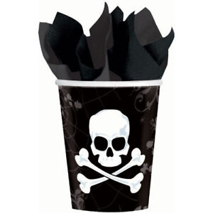 18 270ml Skull and Bones Halloween Party Paper Cups. Amscan. Shipping is Free