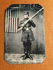 Civil War Soldier with Rifle and Flag Historical Museum Quality tintype C063RP