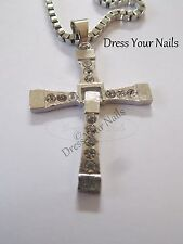 Cross + Chain Pendent Necklace Silver Large Long Gothic Punk Rhinestones Bling