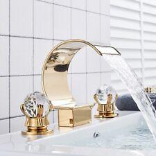 Widespread Waterfall Bathroom Sink Faucet Dual Handle 3Hole Basin Mixer Tap