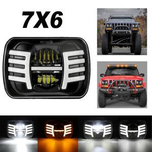 105W H 5x7'' 7x6'' LED Headlight Hi-Lo Beam  DRL Fit For Jeep Cherokee XJ YJ