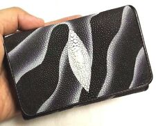 Clutch Stingray Skin Leather Short Trifold Black White Women's Wallets Genuine