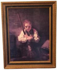 Home Interior Girl with Broom Wood Framed Picture Rembrandt Reproduction