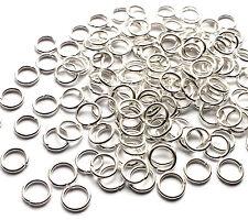 100 x solide brillant plaqué argent 7mm open jump rings connector link, 1mm d'épaisseur