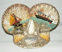 VINTAGE SHELL ART INKWELL  KITSCH SHELL SOUVENIR OF BOGNOR SHIP PAINTING