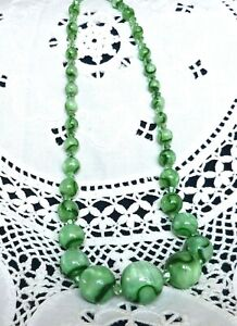 Green Marble Glass Bead Vintage Necklace on Wire c. 1930