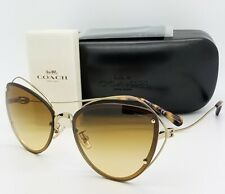 New Coach sunglasses HC7086 90052L 60mm Gold Brown Gradient Butterfly AUTHENTIC