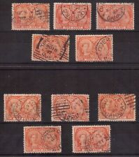 CANADA 1897 USED #51 LOT OF 10 Nice Cancels on 1 Cent DIAMOND JUBILEE !!  R