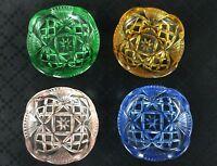 4 Art Déco Burro Panetti Dito Ciotole Rosa Verde Ambra Blu Vetro